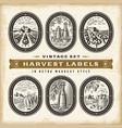 vintage harvest labels set vector image vector image