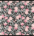 vintage seamless floral pattern with pink roses vector image