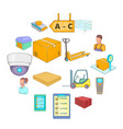 warehouse store icons set cartoon style vector image