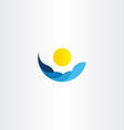 water waves sun icon logo element sign vector image vector image