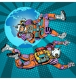 weightlessness astronauts in space over the earth vector image vector image