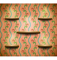 Wooden shelves in retro room vector image vector image