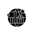 world economic growth black icon sign on vector image vector image