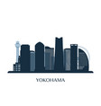 yokohama skyline monochrome silhouette vector image vector image