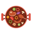 bbq grill pan with vegetables vector image