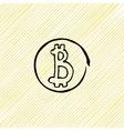 doodle coin Bitcoins black on a yellow vector image