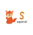 alphabet letter s and squirrel vector image vector image