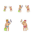 baby girl boy megaphone avatar icons vector image