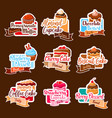 bakery shop stickers for dessert cakes vector image vector image