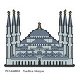 blue mosque istanbul turkey flat icon vector image vector image