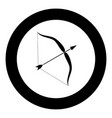 bow and arrow icon black color in circle vector image vector image