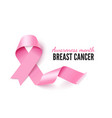 breast cancer banner template with realistic pink vector image