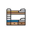 bunk bed flat color line icon vector image vector image