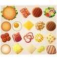 Burgers set Top view Ingredients buns cheese vector image vector image