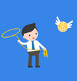 businessman using lasso noose catching flying vector image