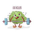 cabbage fat killer weight lifter cartoon vector image vector image
