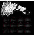 calendar for 2012 with flowers vector image vector image