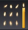 candle flame romantic holiday wax burning candles vector image