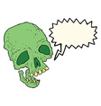 cartoon ancient spooky skull with speech bubble vector image vector image