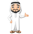 cartoon saudi arab man waving vector image vector image