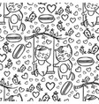 cats on swing valentine seamless pattern vector image