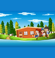 children at the summer house vector image