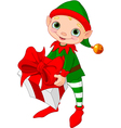 Christmas Elf with gift vector image vector image