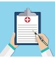 Clipboard in doctors hand vector image