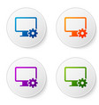 color computer monitor and gear icon isolated on vector image vector image