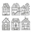 cute little houses and different roofs doodle vector image