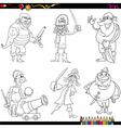 fantasy pirates cartoon coloring page vector image vector image