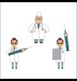 flat doctors with huge syringe pills set vector image vector image