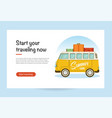 flat web banner with a retro travel van vector image