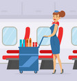 flight attendant pushing cart with drinks on board vector image