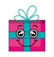 gift box presents kawaii character vector image