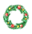 Green christmas tree wreath with Christmas vector image vector image
