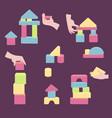 hands with bricks for coordination wood tower toy vector image vector image