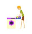 henpecked man husband doing laundry househusband vector image vector image