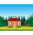 House on glade with flower vector image vector image
