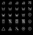 Laundry line icons with reflect on black vector image vector image
