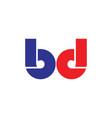 letter bd simple geometric line logo vector image vector image
