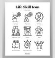 life skill icons line pack vector image vector image
