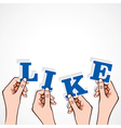 like word in hand vector image vector image