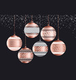 luxury rose gold xmas geometric baubles vector image vector image