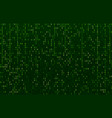 matrix code stream green data codes screen vector image vector image