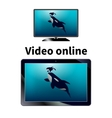 Online video on the tablet vector image vector image