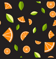 orange lemon on black background seamless vector image vector image