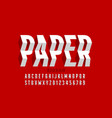 paper craft style font vector image vector image