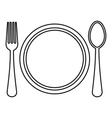 Plate spoon and fork icon outline style vector image