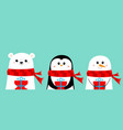 polar white bear snowman penguin in red scarf vector image
